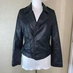 Therapy Faux Leather Biker Jacket Black Large